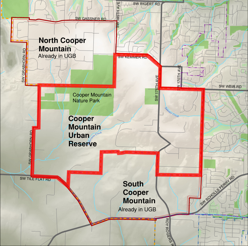 Map showing the Cooper Mountain area