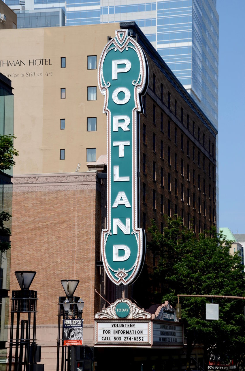 Picture of the Portland sign outside Arlene Schnitzer Concert Hall