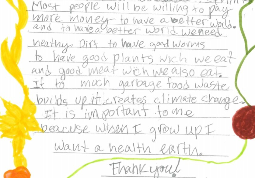 hand-written comment from a fifth grader on the food scraps policy