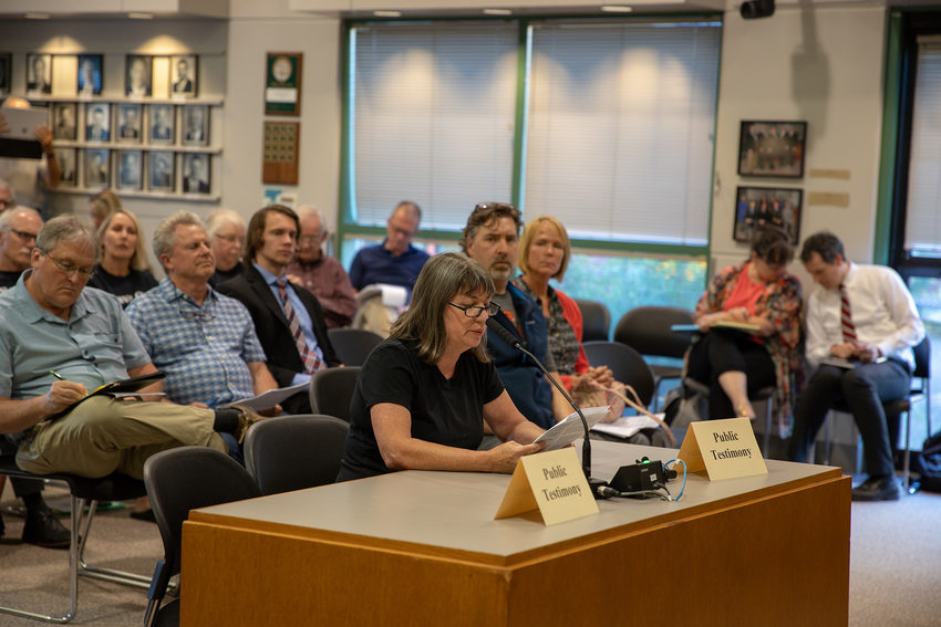 A woman gives testimony about the Southwest Corridor plan at a meeting in Tigard