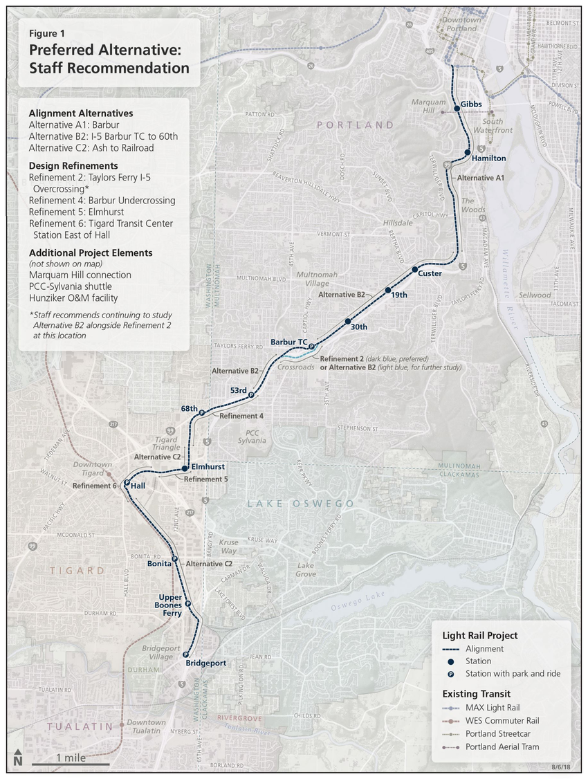 A map of the proposed Southwest Corridor light rail line route
