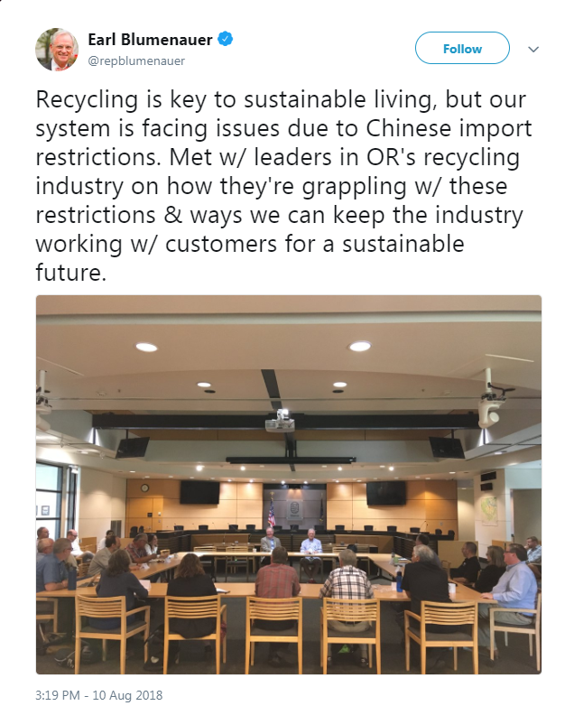 Tweet from Blumenauer: Met w/ leaders in OR's recycling industry on how they're grappling w/ these restrictions & ways we can keep the industry working w/ customers for a sustainable future.