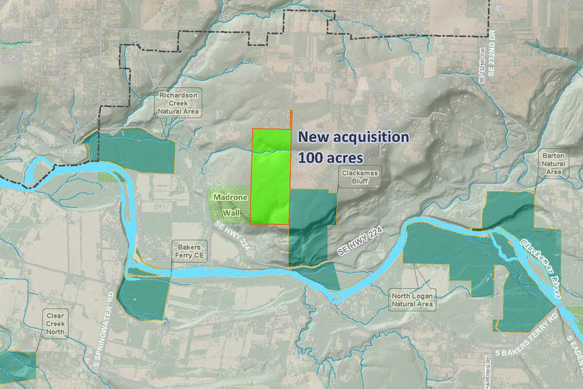 Map of new 100-acre acquisition in Clackamas River Bluffs