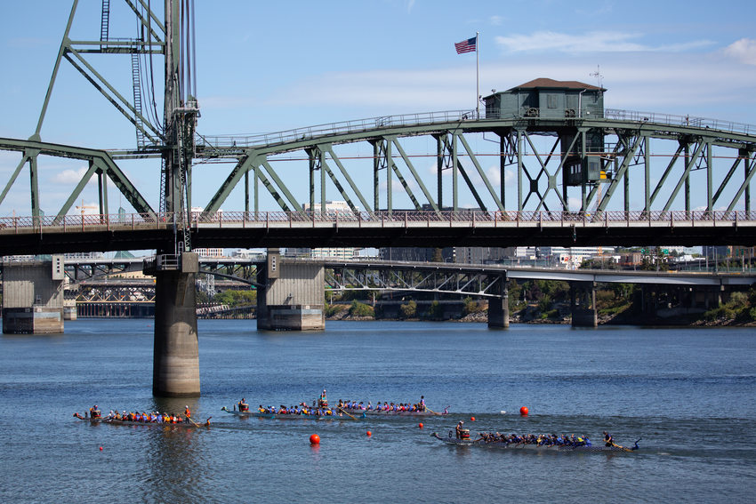 Dragon Boats race on the Willamette River in Portland, Oregon