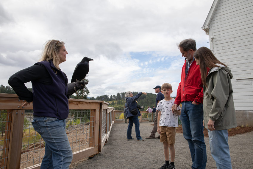 Sheri Salzwedel, a volunteer educator with The Audobon Society of Portland, holds a raven for visitors to see and learn about.