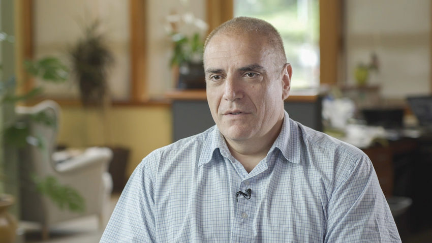 a video still of Bill Garyfallou, a business and property owner in Southwest Portland