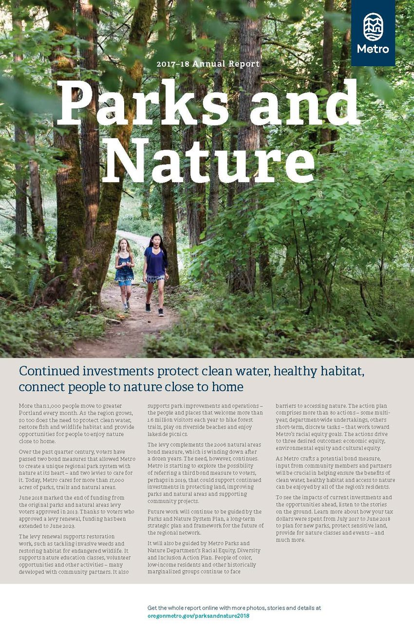 PDF of Metro Parks and Nature Annual Report 2017-18 highlights