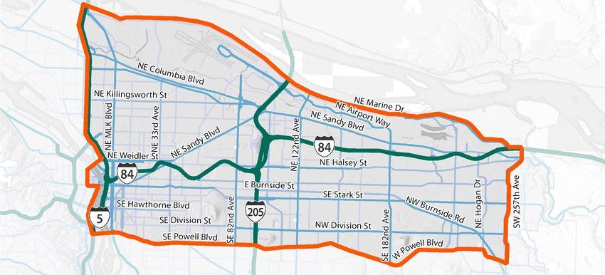 I-84 Multimodal integrated corridor management study area