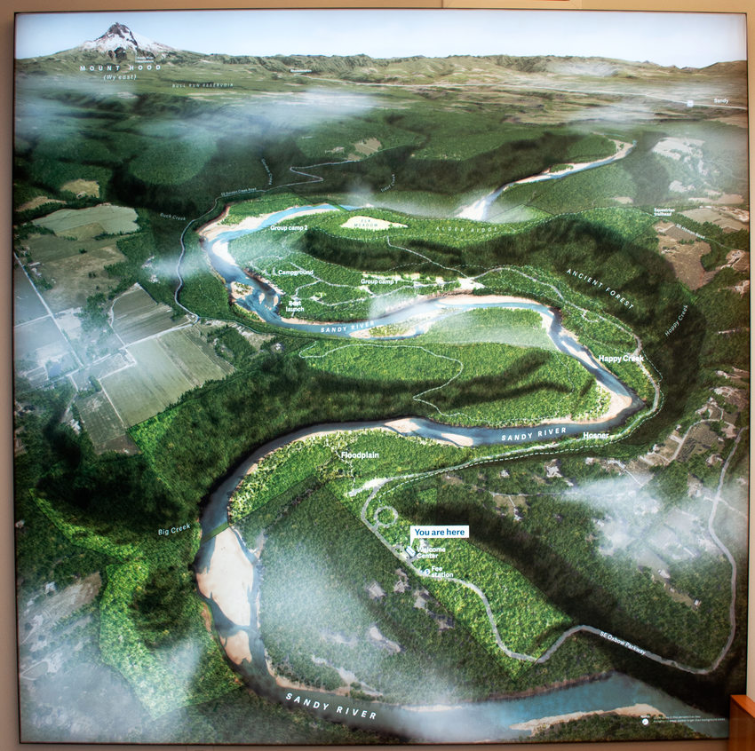 Illuminated satellite view of Oxbow Regional Park.
