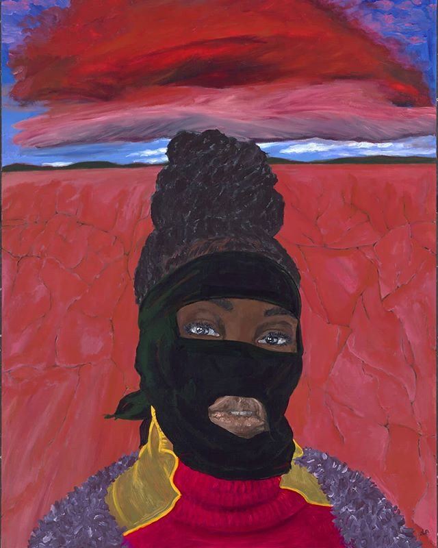 a painting of a woman masked in a black balaclava against a red desert backdrop