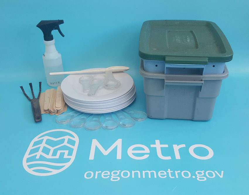 Supplies for the Composting with Worms educational kit on a table