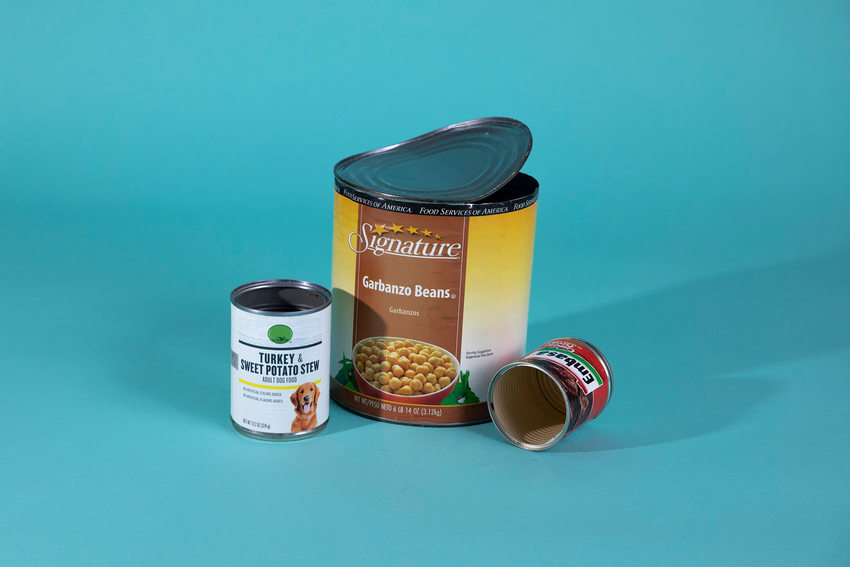 three different sizes of metal cans that can be recycled