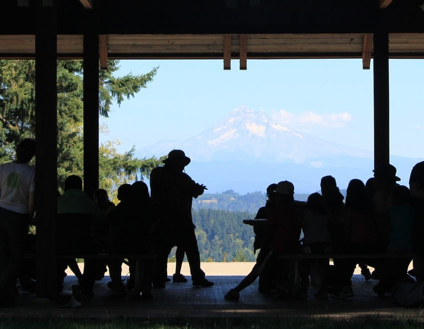 photo of view of Mount Hood from Scouters Mountain Nature Park picnic shelter
