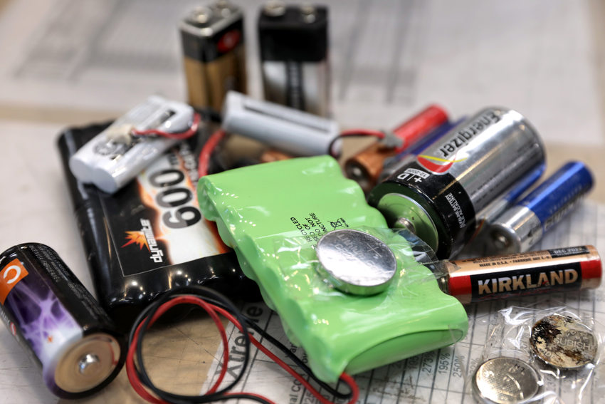 a variety of different battery types returned to Batteries Plus
