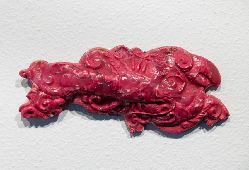 detail of red plastic lobster