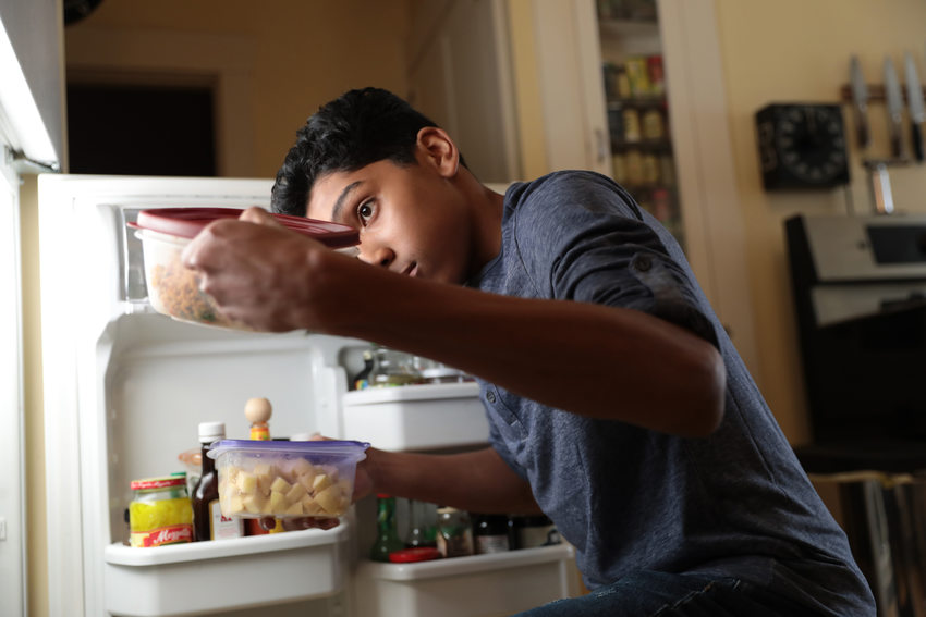 A boy opens the refrigerator door and pulls out leftovers stored in reusable containers