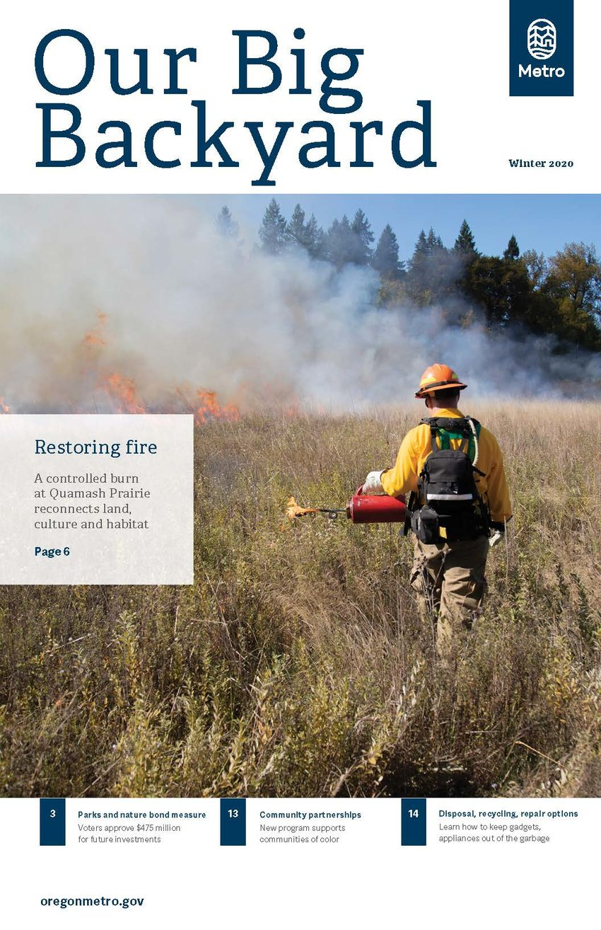 photo of cover of winter 2020 issue of Our Big Backyard, Metro's quarterly parks and nature magazine