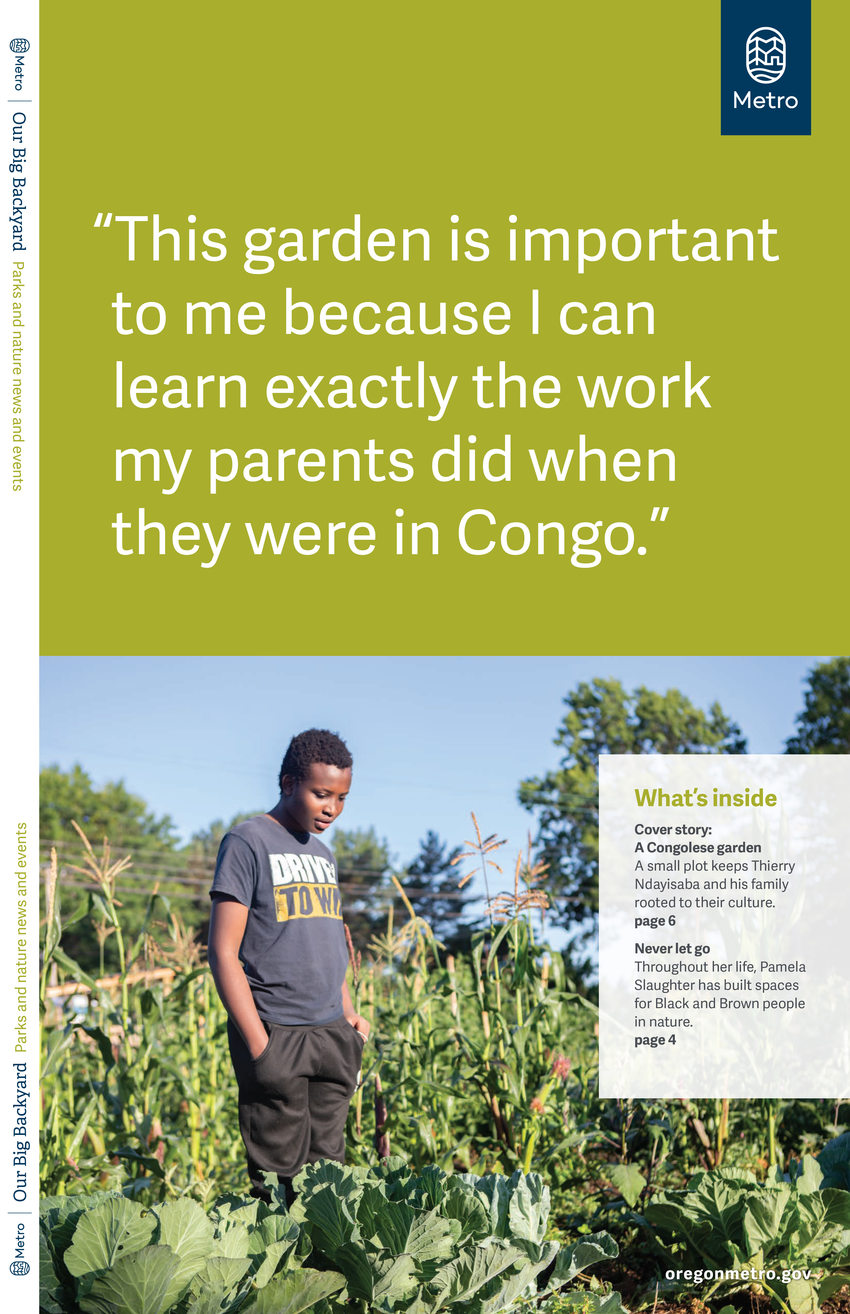 An image of a magazine cover featuring a young black man standing in a garden.