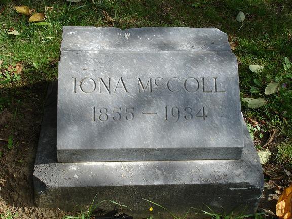 Iona McColls headstone.