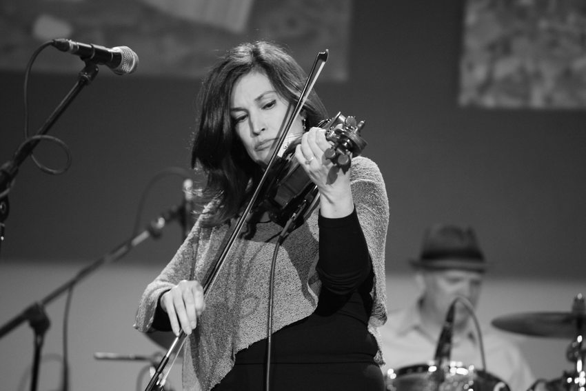 Patricia Rojas plays the violin during a performance