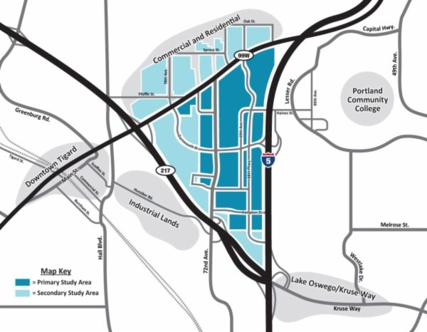 A map of the Tigard Triangle