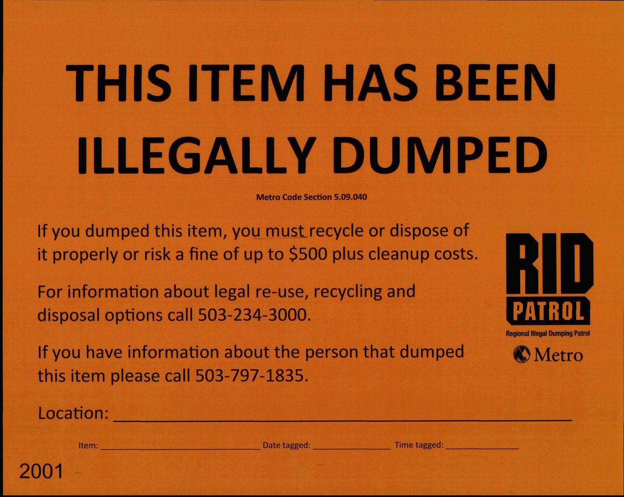Illegal Dumping Patrol orange warning tag