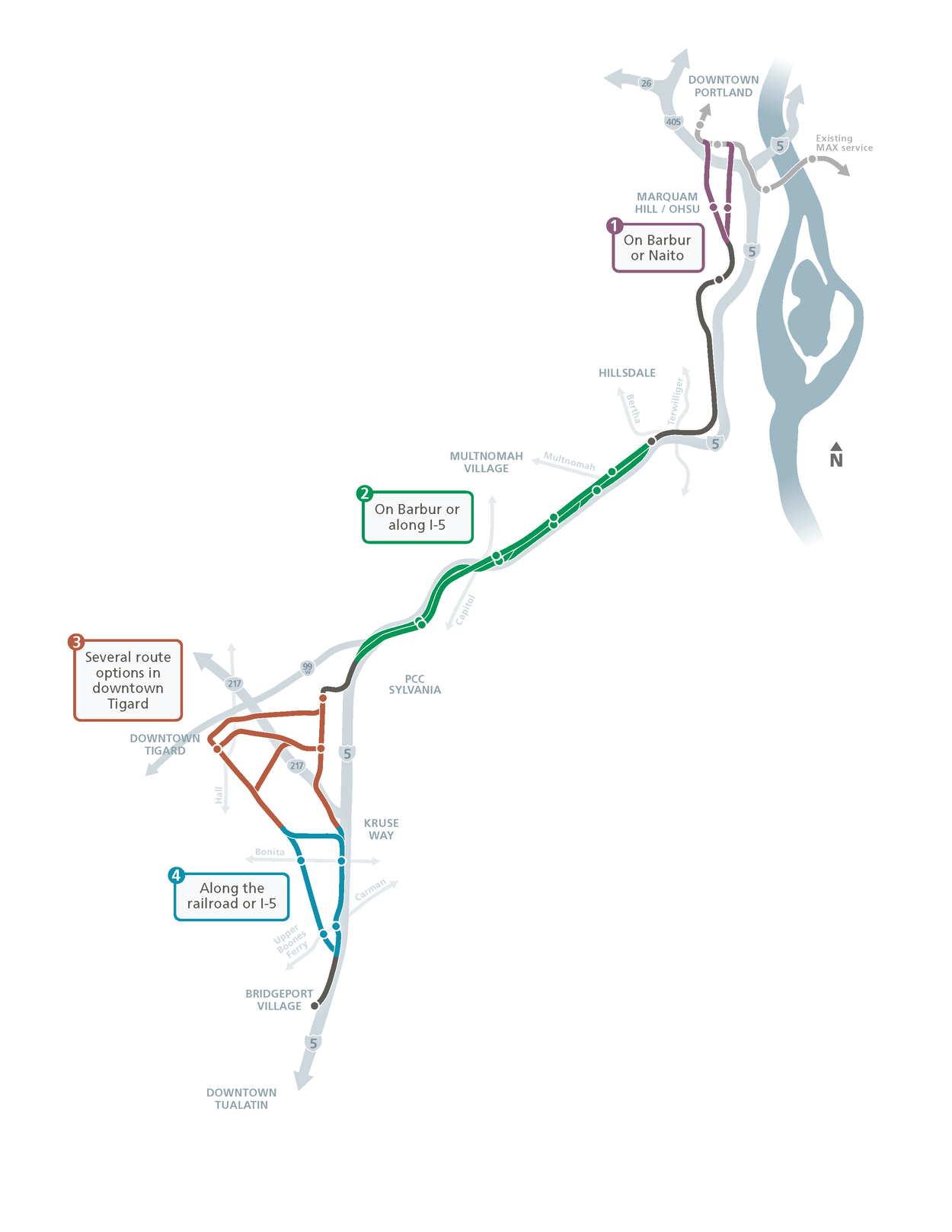SW Corridor route map options as of March 20, 2017