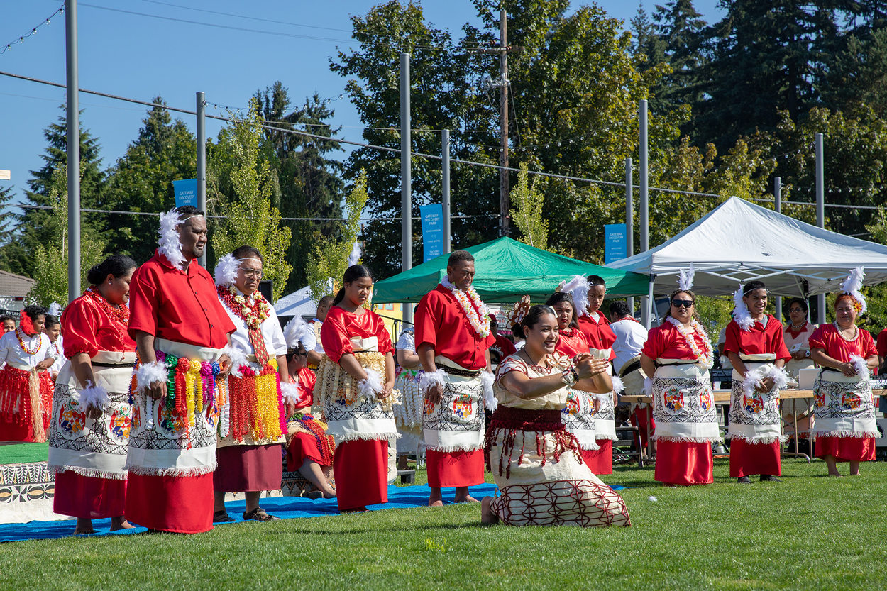 A group of performers dances at Tonga Day at Gateway Discovery Park.