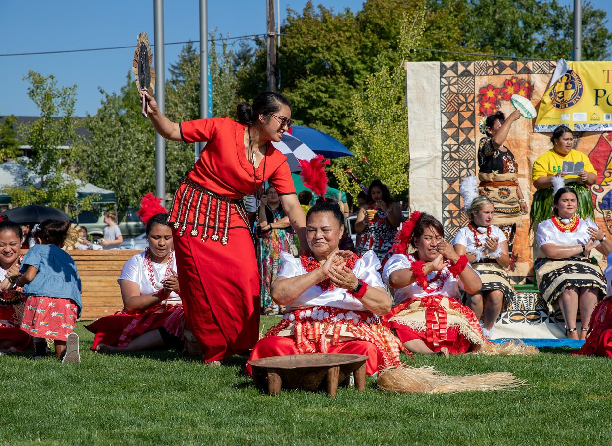 A group of performers sings at Tonga Day at Gateway Discovery Park.