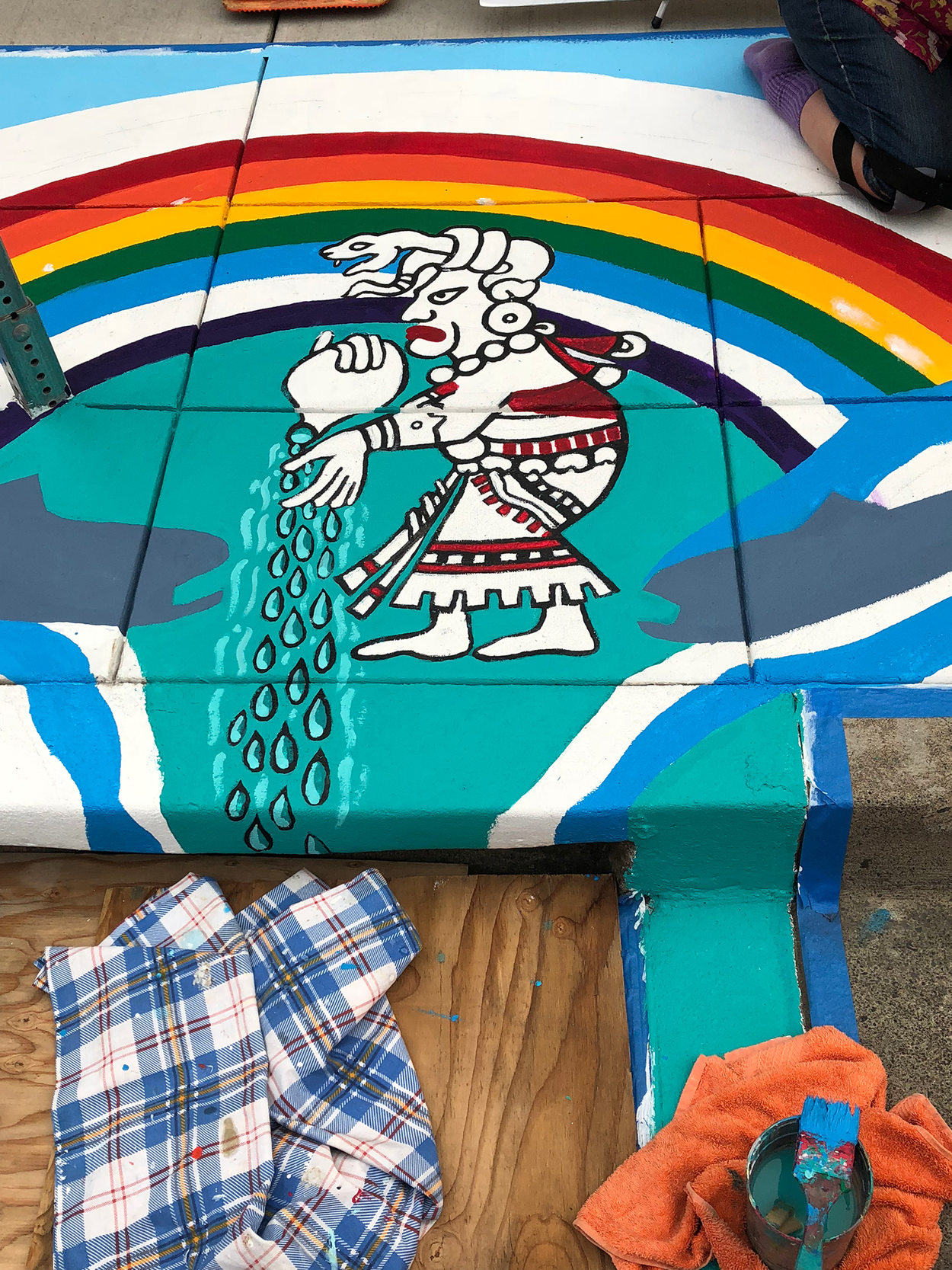 A placemaking mural on the sidewalk in Hillsboro