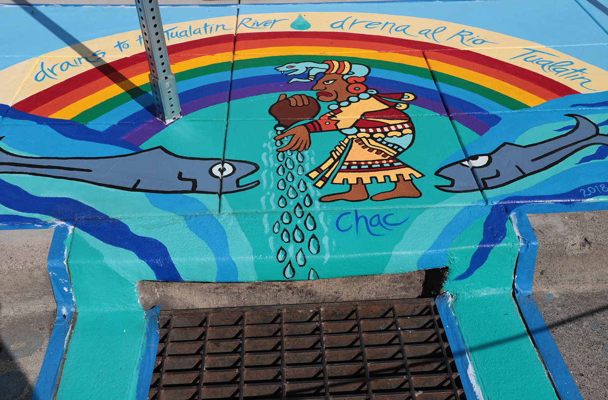 A placemaking mural in Hillsboro, depicting the Mayan rain god Chac
