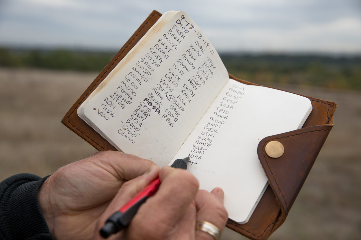 Troy Clark's leather-bound birding notebook