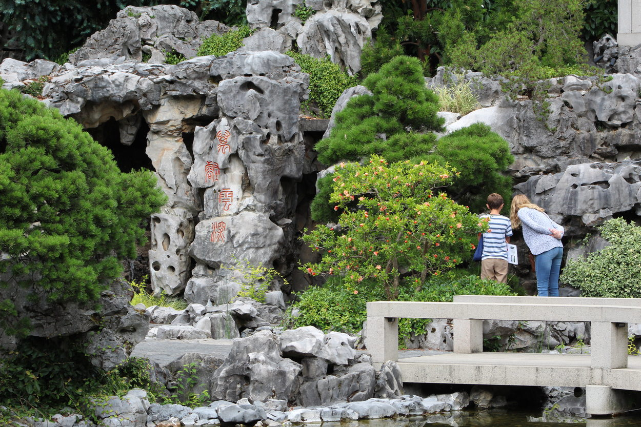 A woman and a young person observe plants at the Lan Su Chinese Garden.