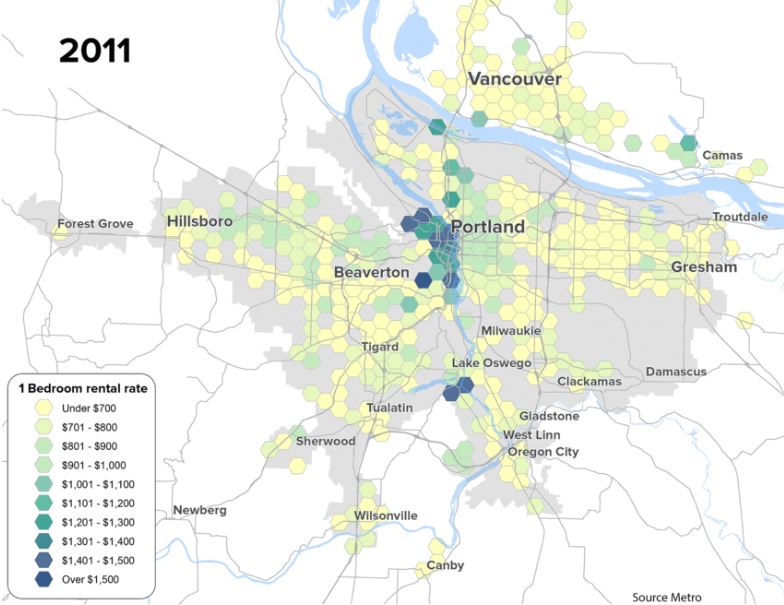 Map showing a distribution of 1-bedroom apartment prices in greater Portland as of 2011