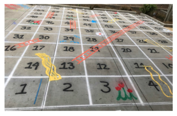 a game of shoots and ladders painted on a parking lot