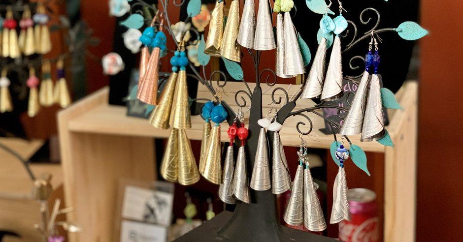 Handmade earings for sale at Portland indigenous market