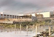 rendering of the Willamette Falls site showing the public yard gathering place and a restored alcove