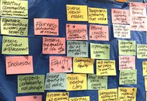 Photo of stickies from a group exercise about values and desired outcomes related to transportation investments.
