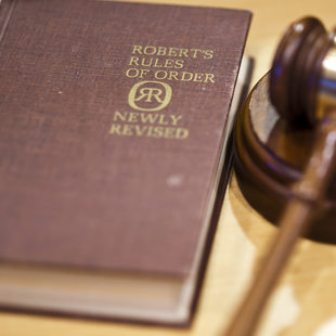 photo of a Robert's Rules book and gavel