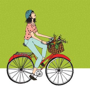 art of a woman on a bike