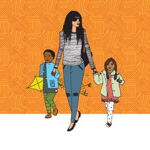 art of a family walking