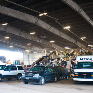 photo of cars and trucks unloading at Metro South