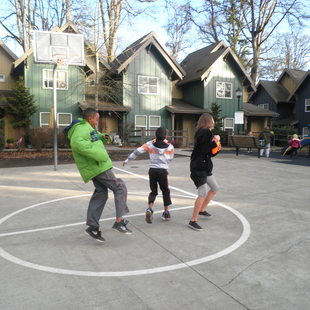 Kids playing at Oleson Woods