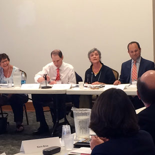 Supporters of the Willamette Falls Legacy Project meet on Aug. 27, 2015. From left, Oregon City Mayor Dan Holladay, former Rep. Darlene Hooley, Sen. Ron Wyden, Metro Councilor Carlotta Collette, Noah Siegel and Clackamas County Commissioner Tootie Smith.