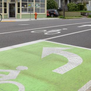 Bike rider and bike lane