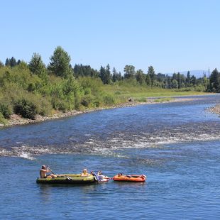 two rafts on the Clackamas River