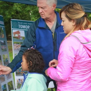 peopel participating in planning outdoors at blue lake park