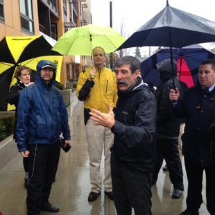 Mark Fenton leads a walking tour in downtown Beaverton