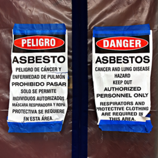 photo of asbestos warning signs