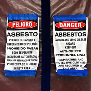 photo of asbestos warning signs